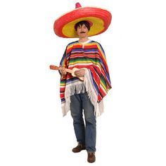 Poncho Mexicana Einheitsgröße - Mexikanische Fiesta Party Motto-Party Produkte - Party-Discount.de