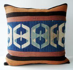 Hand Woven Turkish Antique Patchwork Pillow - mediterranean - pillows - Etsy
