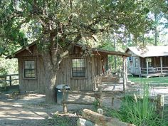 Log cabins at Tejas, a camp and retreat center in Giddings, Texas