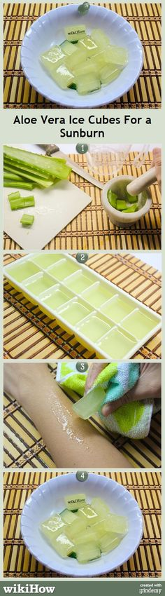1. Use store-bought 100% aloe vera gel or extract your own from the plant (though this yields a much smaller amount). 2. Fill an ice cube tray 3/4 of the way with the gel. To stretch the gel farther add a small amount of water. 3. Allow the gel to freeze. This may take 30 min. to a few hours depending on your freezer, but overnight is best. 4. Apply an ice cube to the affected area as needed. 5. If you plan to use all of the cubes, transfer them to a bowl and start a new batch.