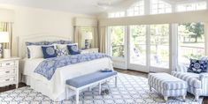 Master bedroom with wall of windows in cool blues Gallery Bedroom Design Detail Transitional by Kim Radovich Interiors Latest Wallpaper Designs, Brown Sofa Set, Relaxing Master Bedroom, Serene Bedroom, Master Bedrooms, Dream Bedroom, Spacious Living Room, Floor To Ceiling Windows, Design Your Home