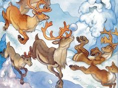 Wallpapers of Rudolph the Red-Nosed Reindeer Story book - Santa & Reindeer Art illustration - Santa & Reindeers Wallpaper 13