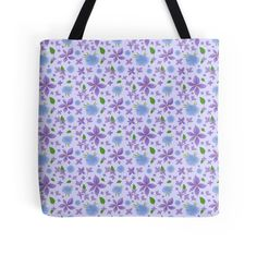 Hand Painted Blue And Purple Flowers Background