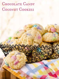 Chocolate Candy Coconut Cookies are loaded with sweet coconut and ...
