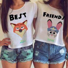 "Item Type: Vest Material: Cotton Sleeve Length: Short Sleeve Neckline: Round Neck Pattern: Print Style: Fashion Color: Best, Friend One Size: Bust: 32-37 "", Waist: 24-29"", Hips: 34-39 """