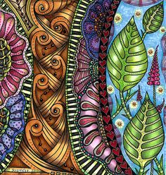 Tangles colored with Copic markers - by Carolyn Boettner on Flickr