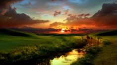 Glorious Sunset - sun, mountains, stream, creek, reflection, field, sky, sunset, clouds, hills, Firefox Persona theme