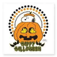 "Snoopy and Woodstock Pumpkin Square Sticker 3"" x 3"""