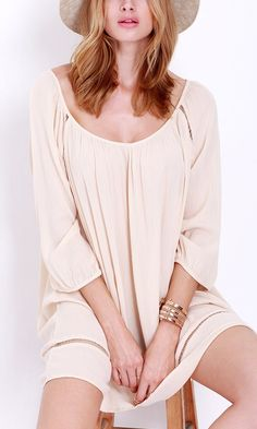 This apricot long sleeve dress will be perfect as the weather cools down.