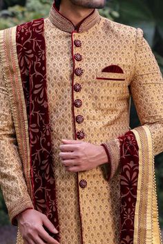 Fawn Sherwani with Contrast Velvet Buttons - Manyavar Best Indian Wedding Dresses, Wedding Outfits For Groom, Groom Wedding Dress, Indian Weddings, Wedding Suits, Wedding Couples, Wedding Ideas, Sherwani For Men Wedding, Punjabi Wedding