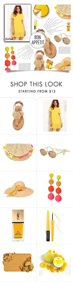 """""""romweday"""" by ztugceuslu ❤ liked on Polyvore featuring Bettye, Katie, Lilly Pulitzer, Moschino, Sensi Studio, Panacea, Yves Saint Laurent and MAKE UP FOR EVER"""