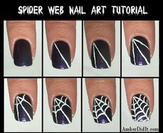 Spider Web Nail Tutorial by Amber Did It