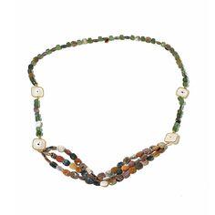 "Rarities Fine Jewelry with Carol Brodie Rarities: Fine Jewelry with Carol Brodie Ocean Jasper, Serpentine and Quartz Vermeil 36"" Necklace"
