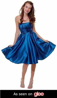 Strapless Satin Teal Blue Knee Length Bridesmaid Dress Rose Flower Empire Pleated Bodice $87.99