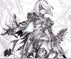 337.7 M/332 M Nier: Automata Nier black and white fictional character anime mangaka monochrome