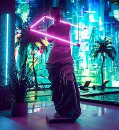 vaporwave neon Neon David Sculpture with futuristic home design neo tokyo Bodega Bar, Neo Tokyo, Futuristic Home, Cyberpunk City, Vaporwave Art, Centre Commercial, Neon Wallpaper, Neon Aesthetic, Retro Waves