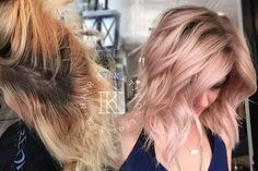 "Little before and after ✨✨✨ calling this the perfect rose color! did a full highlight, shadowed her roots, then toned her with 9v and 9rb in redken shades but then added more pink with the schwartzkopf blush spray in strawberry! Also, she had what I call the ""blonde mullet"" where the the front was noticeable shorter just from fragile hair so I put I n 2 tape in extensions on the side and it made such a difference!"