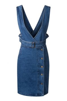 High Waist Button Down Sash V-Neck Denim Overall Dress High Waist Button Down Sash V-Neck Denim Jumpsuit Dress