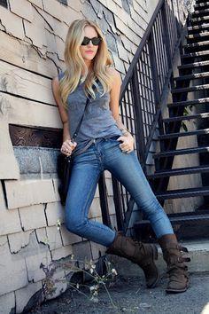 topshop tie & jean & boots