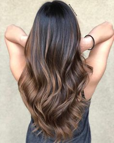 Soft Warm Brown Balayage For Black Hair