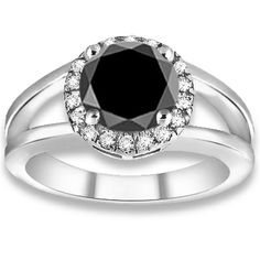 0.88 ctw 14k WG AAA Black, Accent I-J Color, VS - SI Clarity Diamonds Engagement Ring http://www.pricepointshop.com