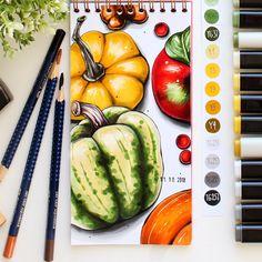"""Иллюстрации на заказ by Е.V.A. na Instagramie: """"Осенние зарисовки продолжаются 😊, рисую новыми и свежими, но такими знакомыми маркерами #finecolour 👌🏻, с них началась моя рисовальная…"""" Copic Marker Art, Copic Art, Sketch Markers, Copic Markers, Illustration Sketches, Food Illustrations, Color Pencil Art, Gcse Art, Food Drawing"""