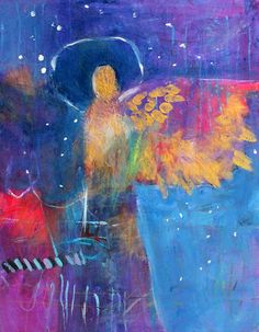 """Small Abstract Angel Painting Spritual Original Artwork """"Angel of the Falling Stars"""" by Kerri Blackman"""