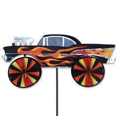 28 In. Hot Rod Spinner. 100% UV RESISTANT SUNTEX FABRIC. Easy to assemble. Support pole & ground stake included. Size: 28 x 13 in.