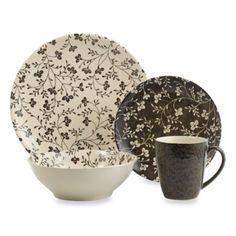 Sango Fresh Flowers Black 16-Piece Dinnerware Set - BedBathandBeyond.com really like this one and the price
