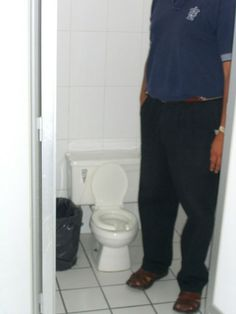 Wow, looks like the smallest toilet in the world! Or is he just an exceptionally tall man? Do you know Sam Blackman?