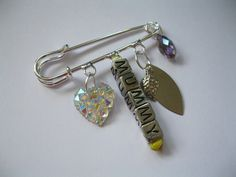 Personalised Mummy Brooch Bag Clip Silver Pin Sparkly Charms mothers day gift £4.00