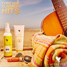 Enjoy the Summer with the Forever Summer Classics!  Always a hit, on every beach: Aloe Sunscreen & Aloe Sunscreen Spray with SPF 30 and Aloe Vera to protect your skin from the aging and damaging effects of the sun. And don't forget… Forever Sun Lips, a soothing lip balm that helps to protect the delicate tissues of our lips from the sun and wind, while also offering the cooling sensation of mint!   #AloeSunscreen #ForeverSunLips