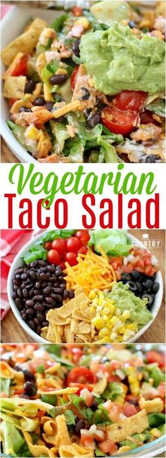Vegetarian Frito Taco Salad recipe from The Country Cook with BUSH'S Beans vegetarisch lifestyle recipes grillen rezepte rezepte schnell Vegetarian Taco Salad, Taco Salad Recipes, Vegetarian Dinners, Mexican Food Recipes, Diet Recipes, Healthy Recipes, Veggie Taco Salad, Recipies, Healthy Taco Salad Recipe