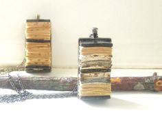 Book Necklace - Paper Jewelry - Pendant - Gunmetal Bezel