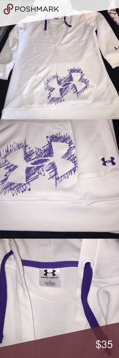 Under Armour size small white and purple hoodie Adorable Under Armour size small hoodie. White and purple. Worn once in like new condition from smoke free home. 3/4 sleeves. 100% polyester. Very soft and comfy. Under Armour Tops Sweatshirts & Hoodies