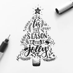 tis the season to be jolly hand lettering Christmas Sketch, Christmas Doodles, Christmas Art, Christmas Slogans, Doodle Art Letters, Calligraphy Cards, Diy Holiday Gifts, Merry Christmas And Happy New Year, Happy Holidays