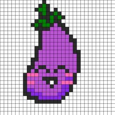 Happy_eggplant by Jiska on Kandi Patterns Part of my kawaii veggie pattern series.