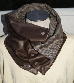Brown Leather and Wool Plaid Men's Cowl Neck Muffler - Reversible