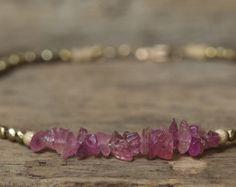Roze toermalijn armband oktober Birthstone Jewelry, toermalijn armband, gouden armband, gerolde armband, stapelen armband, hematiet