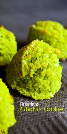 Butter-free Flourless Pistachio Cookies are the best cookies to make in summer. These are really light and healthy, yet very tasty and satisfy your sweet tooth. Gluten Free Sweets, Gluten Free Cookies, Gluten Free Baking, Gluten Free Recipes, Cookie Desserts, Cookie Recipes, Dessert Recipes, Pistachio Cookies, Coconut Cookies