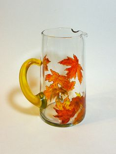Modern Hand Painted Glass Pitcher with Autumn by GlassWorksEtc, $45.00