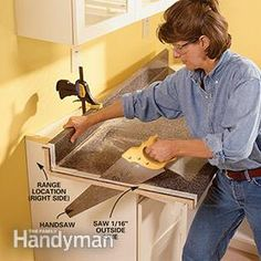 Step-by-step instructions on how to install a pre-made plastic laminate countertop in your kitchen or bathroom.