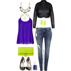 Plus Size - Neon Night by alexawebb on Polyvore featuring JunaRose, Zara, Nomadic, Humble Chic, Kendra Scott, Essie, outfit, plus and size