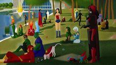 DCコミックヒーローをジョルジュ・スーラっぽく描いた『ホール・オブ・ジャスティスの土曜日の朝』