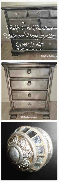 DIY Shabby Chic Furniture Makeover with Looking Glass Paint Tutorial ~ Give a bland '80s dresser a unique vintage finish with chalkboard paint and Krylon Looking Glass Spray Paint. Add mismatched glass knobs for a playful look...what a difference!