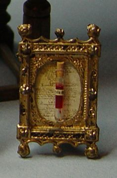 Miniature Blood Relic Reliquary in Frame Dollhouse by evminiatures, $45.00