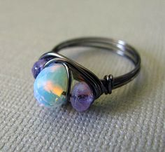 Wire Wrapped Ring Amethyst Purple Opal Ring by PolymerPlayin