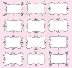 Doodle Digital Frames Borders Tags Clip Art Clipart Doodle Scrapbook Supplies Vintage White in the Middle Label Teacher Crafter 10346