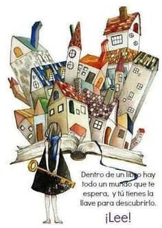 Los libros son la clave/books hold the key I Love Books, Books To Read, My Books, Book City, Reading Art, World Of Books, Whimsical Art, Book Illustration, Oeuvre D'art