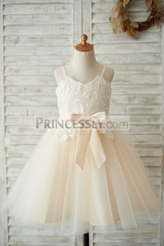 6e52977399c Spaghetti Straps Champagne Tulle Ivory Lace Wedding Flower Girl Dress SKU   K1003533 Buy Now: